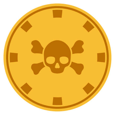 Skull Crossbones golden casino chip pictogram. Vector style is a gold yellow flat gambling token symbol.