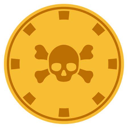 Skull Crossbones golden casino chip pictogram. Vector style is a gold yellow flat gambling token symbol.