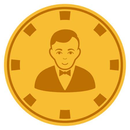 Croupier Dealer golden casino chip pictogram. Raster style is a gold yellow flat gamble token symbol. Stock Photo