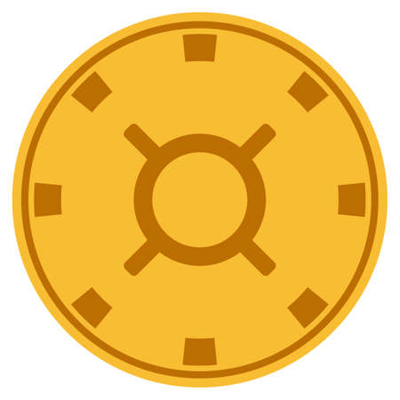 Currency golden casino chip icon. Raster style is a gold yellow flat gambling token item.