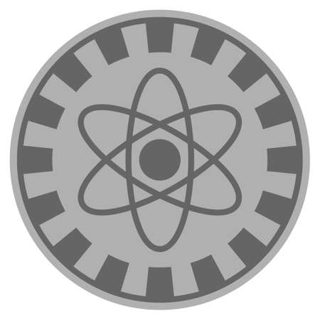 Atom gray casino chip icon. Vector style is a gray silver flat gambling token item.