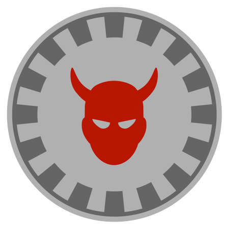Devil gray casino chip icon. Vector style is a grey silver flat gambling token symbol. Ilustração
