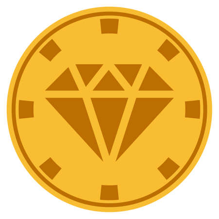 Gem golden casino chip icon. Raster style is a gold yellow flat gambling token symbol. Stock Photo
