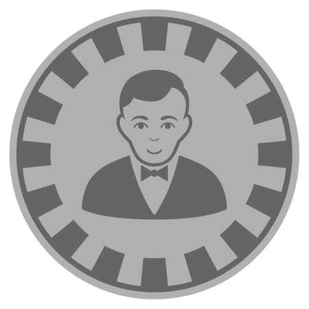 Croupier Dealer grey casino chip icon. Raster style is a gray silver flat gamble token symbol. Stock Photo