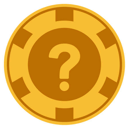 Query golden casino chip icon. Raster style is a gold yellow flat gamble token item.