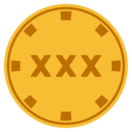 XXX golden casino chip pictograph. Raster style is a gold yellow flat gamble token item.