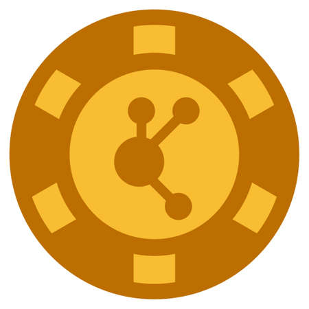 Bitconnect golden casino chip pictogram. Vector style is a gold yellow flat gambling token item.