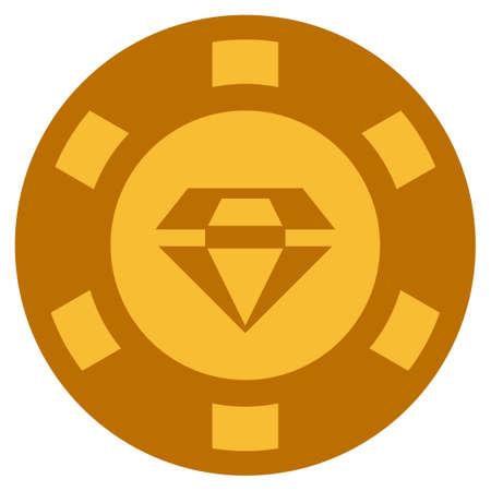 화려한 황금 카지노 칩 그림입니다. 벡터 스타일은 금색의 노란색 평면 도박 토큰 아이템입니다. 일러스트