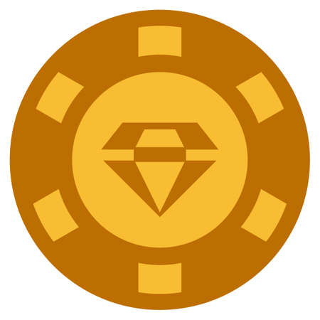 Brilliant golden casino chip pictogram. Vector style is a gold yellow flat gambling token item.