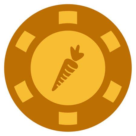 Pictogramme de puce casino Golden carotte. Le style de vecteur est un symbole de jeton de pari plat jaune or.