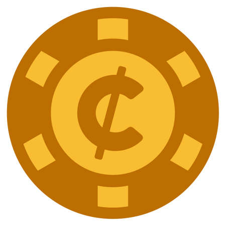 Cent golden casino chip icon. Vector style is a gold yellow flat gamble token symbol.