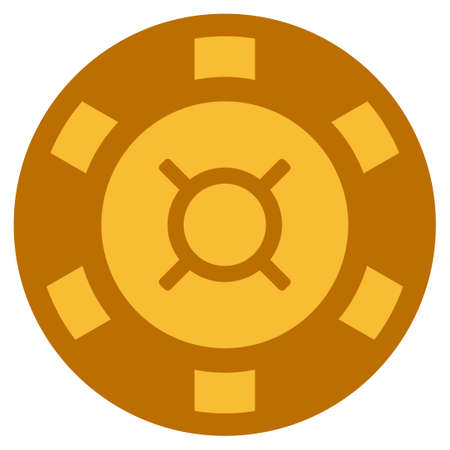 Currency golden casino chip pictogram. Vector style is a gold yellow flat gamble token item.
