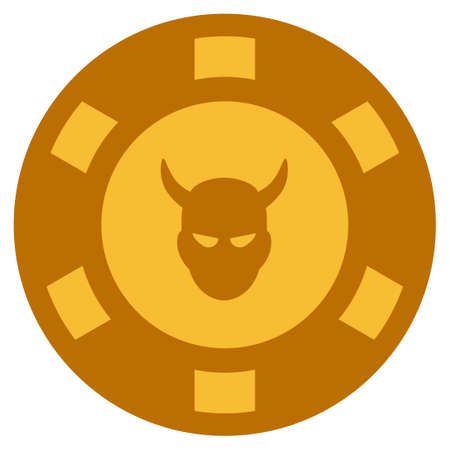 Devil golden casino chip pictogram. Vector style is a gold yellow flat gamble token symbol.