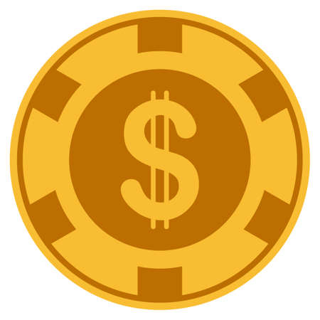 Dollar golden casino chip pictograph. Raster style is a gold yellow flat gamble token symbol.