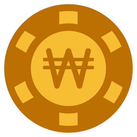 Korean Won golden casino chip icon. Vector style is a gold yellow flat gambling token symbol. Illustration