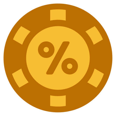 Percent golden casino chip pictograph. Vector style is a gold yellow flat gambling token symbol.