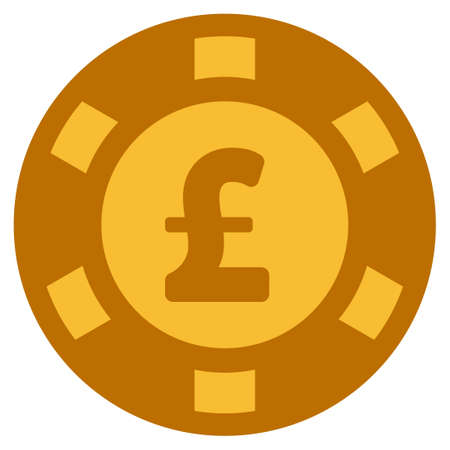 Pound Sterling golden casino chip pictograph. Vector style is a gold yellow flat gamble token symbol. Illustration