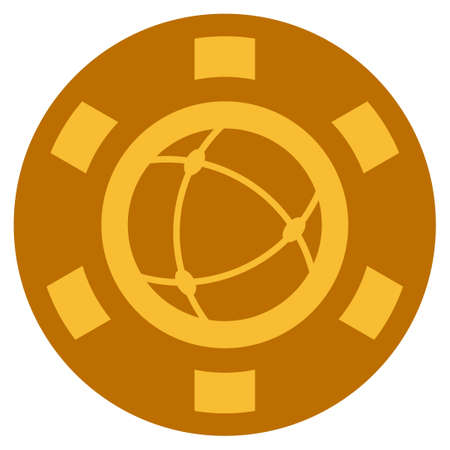 Universe golden casino chip icon. Vector style is a gold yellow flat gambling token item. Illustration
