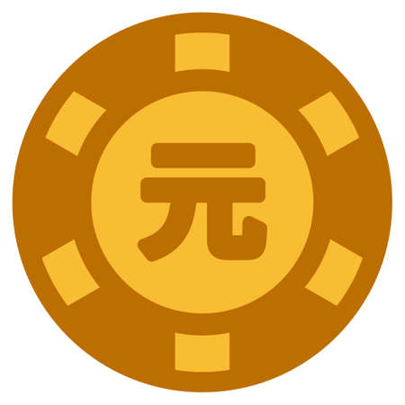 Yuan Renminbi golden casino chip pictogram. Vector style is a gold yellow flat gambling token symbol.