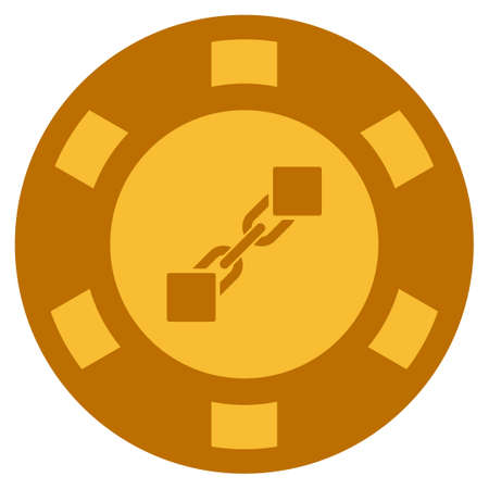 Blockchain golden casino chip pictograph. Raster style is a gold yellow flat gamble token symbol. Stock Photo