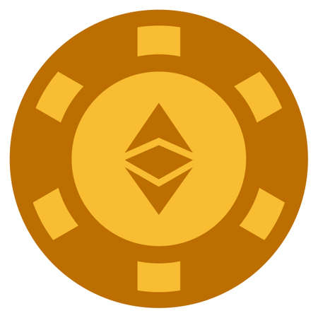 Ethereum Classic golden casino chip pictograph. Raster style is a gold yellow flat gamble token item. Stock Photo