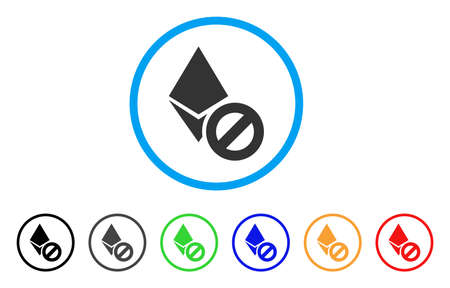 Forbidden Ethereum Crystal rounded icon. Style is a flat gray symbol inside light blue circle with additional colored variants.