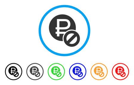 Verbotenes Rubel abgerundetes Symbol . Stil ist ein graues graues Symbol innerhalb des hellblauen Kreises mit den zusätzlichen Farbversionen . Entwickelt für Web- und Software-Schnittstellen
