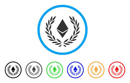 Ethereum Crystal Laureal Wreath rounded icon. Style is a flat gray symbol inside light blue circle with bonus color versions.