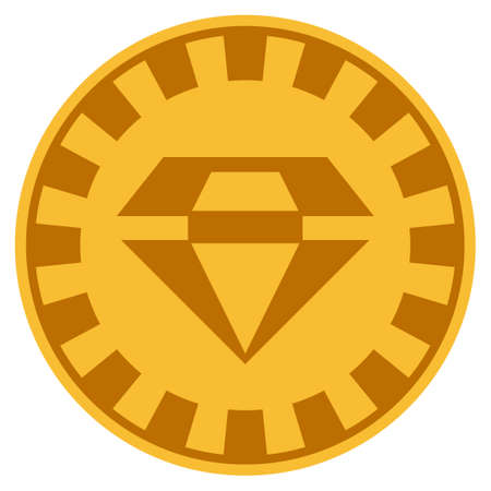 Brilliant golden casino chip icon. Vector style is a gold yellow flat gamble token item.