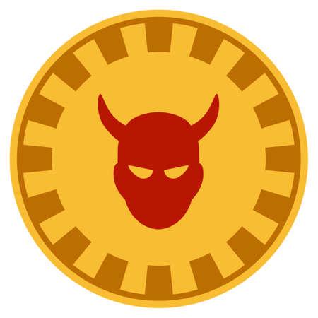 Devil golden casino chip icon. Vector style is a gold yellow flat gamble token symbol. Ilustração