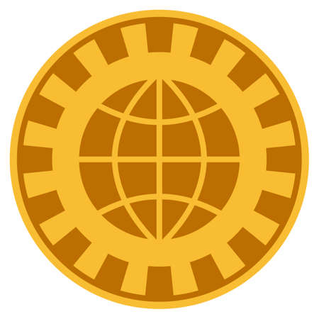 Globe golden casino chip pictogram. Vector style is a gold yellow flat gambling token item.
