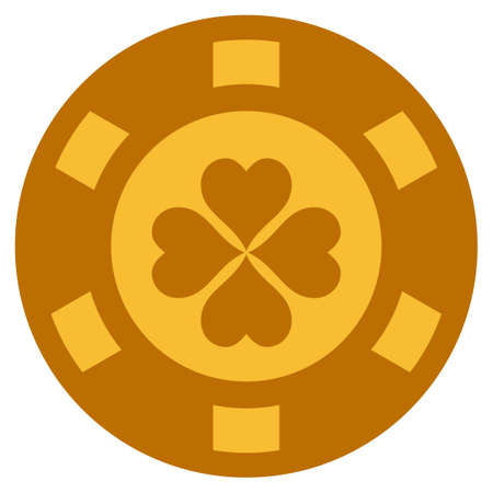 Lucky Clover golden casino chip icon. Vector style is a gold yellow flat gambling token item.