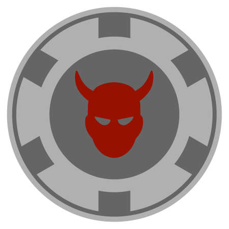 Devil gray casino chip pictogram. Vector style is a grey silver flat gambling token item.