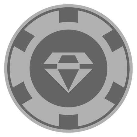 화려한 회색 카지노 칩 상형 문자입니다. 벡터 스타일은 회색 은색 평면 도박 토큰 아이템입니다.