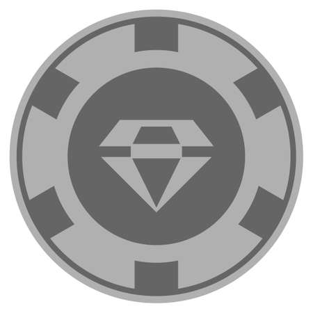 Brilliant gray casino chip pictograph. Vector style is a grey silver flat gambling token item. Ilustrace