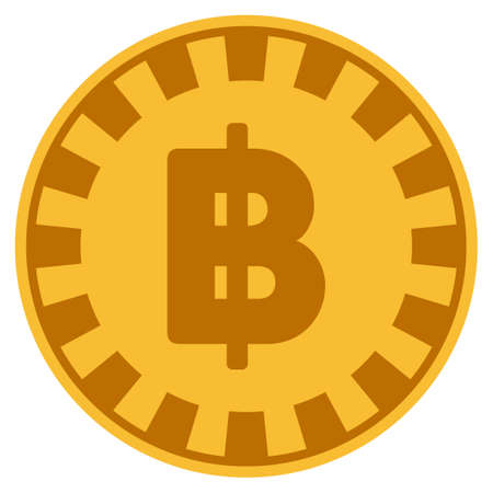 Thai Baht golden casino chip icon. Vector style is a gold yellow flat gambling token item.