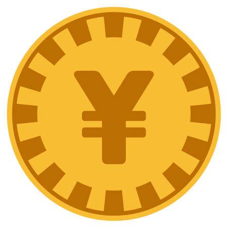 Yuan golden casino chip pictogram. Vector style is a gold yellow flat gambling token symbol.