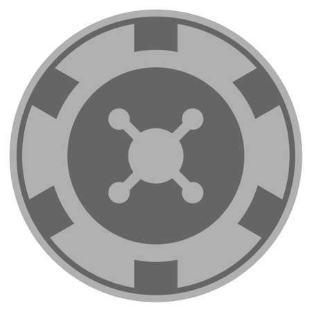 Roulette gray casino chip pictograph. Vector style is a gray silver flat gamble token item.
