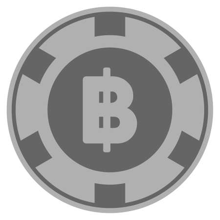 Thai Baht grey casino chip pictogram. Vector style is a gray silver flat gambling token item.