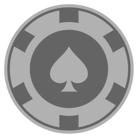 Peaks suit grey casino chip pictograph. Vector style is a grey silver flat gambling token symbol. Ilustrace