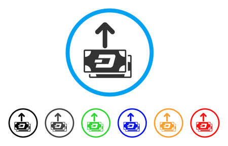 Dash Banknotes Pay Out rounded icon. Style is a flat grey symbol inside light blue circle with additional colored versions. Dash Banknotes Pay Out vector designed for web and software interfaces. Illustration