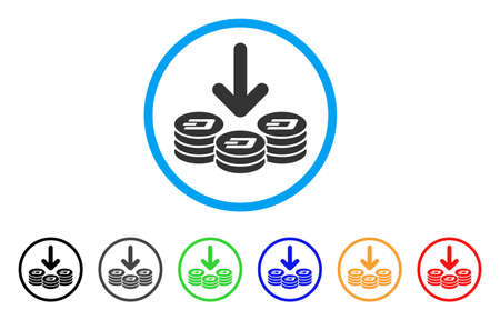 Dash Coins Income rounded icon. Style is a flat gray symbol inside light blue circle with bonus color versions. Dash Coins Income vector designed for web and software interfaces.