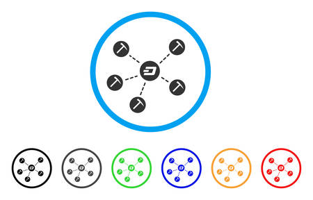 Dash Mining Network rounded icon. Style is a flat grey symbol inside light blue circle with bonus colored variants. Dash Mining Network vector designed for web and software interfaces.