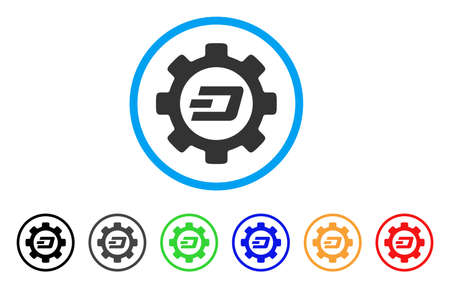 Dash Options Gear rounded icon. Style is a flat grey symbol inside light blue circle with additional colored versions. Dash Options Gear vector designed for web and software interfaces. Ilustração