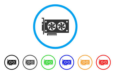 Dual Gpu Videocard rounded icon. Style is a flat gray symbol inside light blue circle with bonus colored versions. Dual Gpu Videocard vector designed for web and software interfaces. 向量圖像