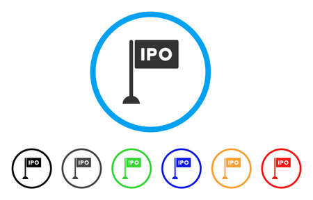 Ipo Rectangle Flag rounded icon. Style is a flat grey symbol inside light blue circle with additional color versions. Ipo Rectangle Flag vector designed for web and software interfaces. Illustration