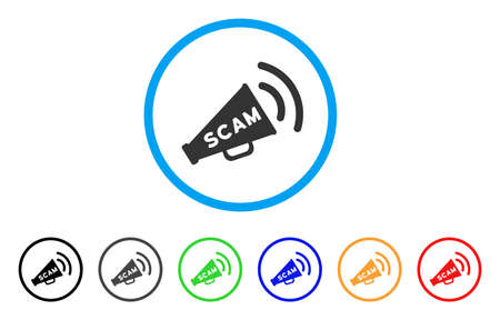 Scam Alert Megaphone rounded icon. Style is a flat grey symbol inside light blue circle with additional color versions. Scam Alert Megaphone vector designed for web and software interfaces. Illustration
