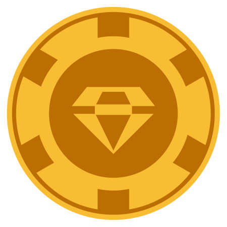 Brilliant golden casino chip icon. Raster style is a gold yellow flat gamble token item.