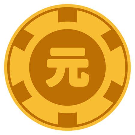 Yuan Renminbi golden casino chip pictograph. Vector style is a gold yellow flat gambling token item.