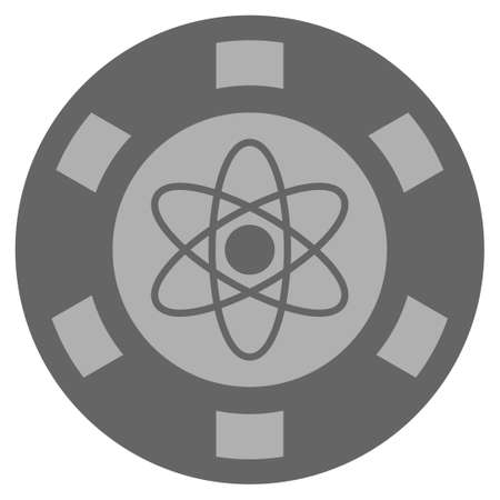 Atom grey casino chip pictogram. Vector style is a grey silver flat gamble token item.